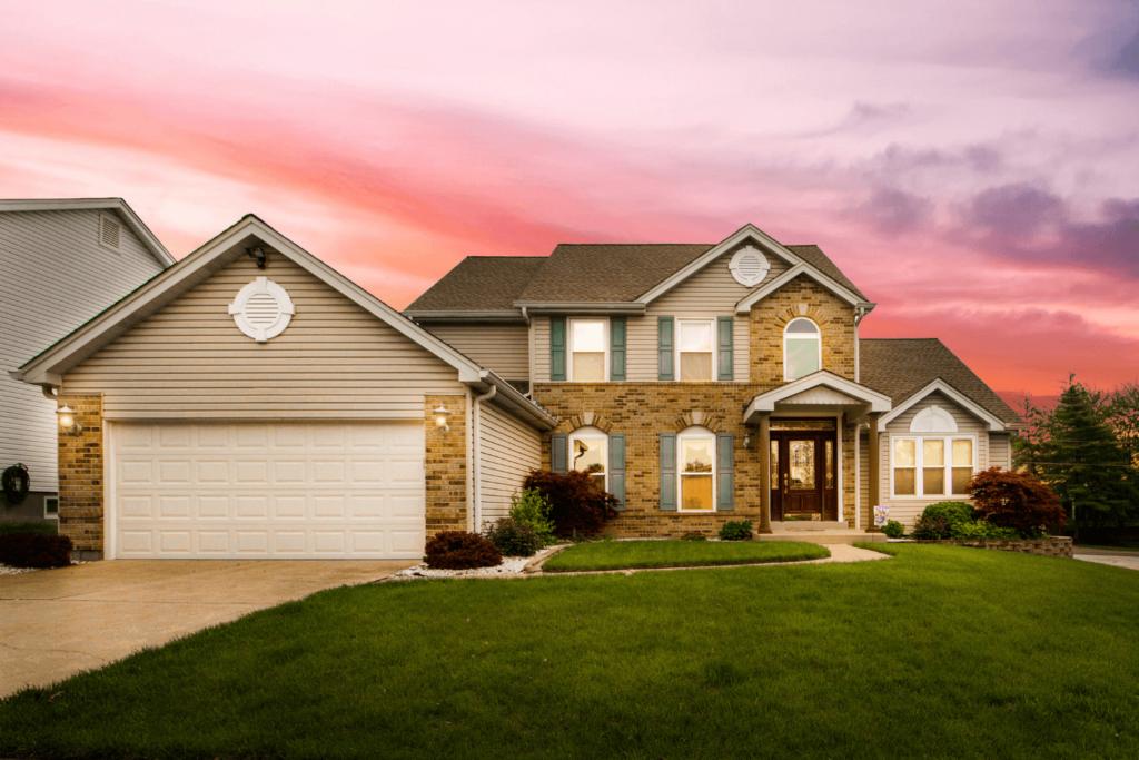 Beautiful suburban house at sunset