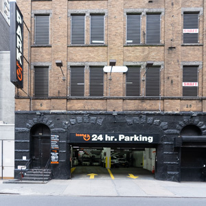 Garage parking on West 47th Street in New York City