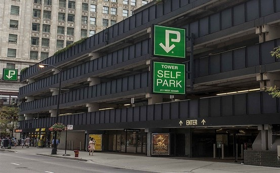Indoor lot parking on West Adams Street in Chicago