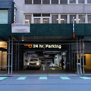 Indoor lot parking on Madison Ave in New York