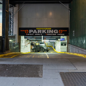 Indoor lot parking on West 53rd St in New York