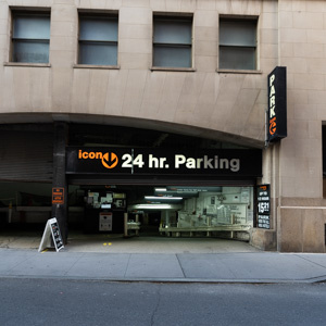 Indoor lot parking on West Street in New York