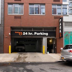 Indoor lot parking on East 1st Street in New York